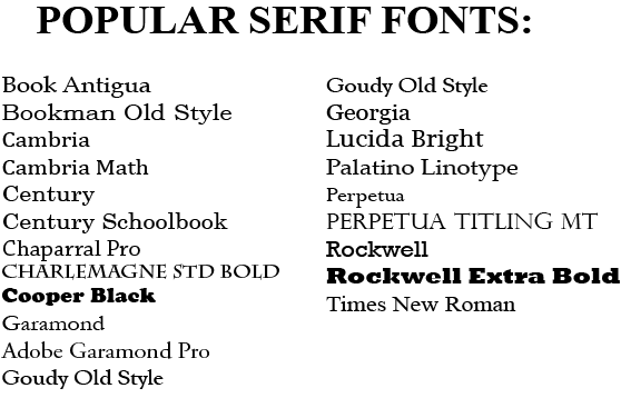 what are the font choices for my text bulletin bottle