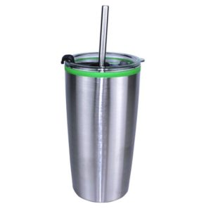 Banded Tumbler with Stainless Straw